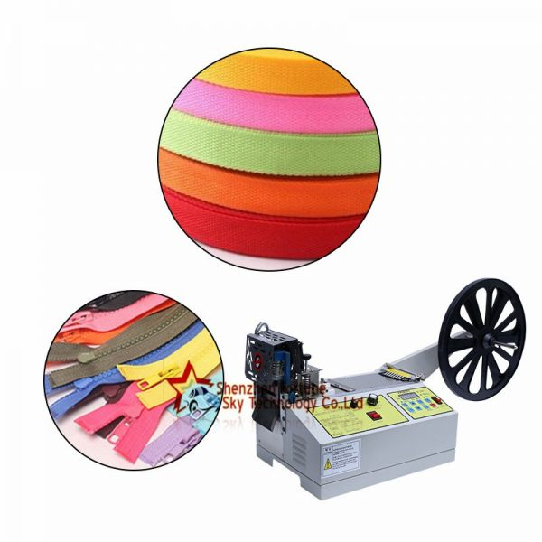 Fully Automatic Ribbon Zipper Elastic Band Velcro Cutting Machine1